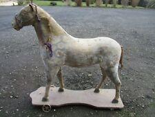 Ancien Jouet cheval en bois et carton sur roulettes 19 eme