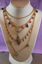 Betsey Johnson Authentic NWT Gold-Tone Bead Bird & Feather Multi-Layer Necklace