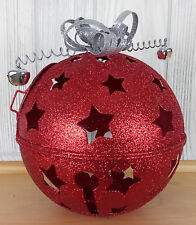 """Christmas Candle Holder Red Sparkly Big Large Jingle Bell Ball 7"""" Silver Ribbon"""