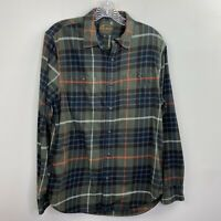 Lucky Brand Shirt Mens Small Button-Front Green Plaid Flannel Classic Fit EUC