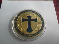 Free Mason Chevaliers Templiers émaillé bleu/or JETON