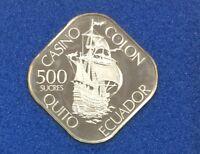 Franklin Mint Colon Internacional Casino Ecuador Silver Gaming Coin Token