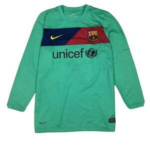NIKE David Villa FC Barcelona Long Sleeve Soccer Jersey 2010-2011 Away Kit Sz M