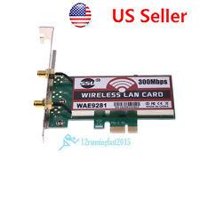 PCI-Express 300Mbps Wireless WiFi Card Adapter 2 Antennas for Desktop Laptop US