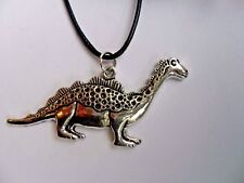 Cute Dinosaur Pendant Leather // Silver  Necklace