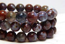 8mm Beads Pietersite Gemstones Burgundy Red Gray Stone Full Strand B-36E