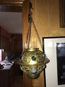 Antique Pierced Brass & Colorful Glass Jeweled Hanging Candle Lantern Lamp