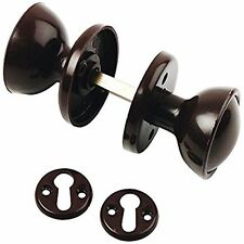 2x 48mm Brown Plastic Bakelite Mortice 2 Round Door Handle Knobs Set Retro Style