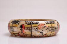 Vintage India Hand Painted Bronze Bracelet