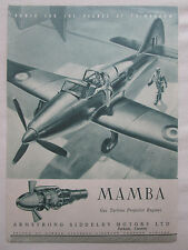 8/1947 PUB ARMSTRONG SIDDELEY MAMBA GAS TURBINE PROPELLER ENGINE ORIGINAL AD