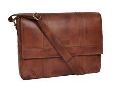 Two Tone Real Leather Designer Cross body Bag Vintage Tan Shoulder Satchel