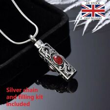 Vintage Silver Cremation Ashes Necklace Jewellery Memorial Urn Pendant - Red