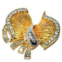 Belle broche vintage de couleur or et argenté noeud cristal blanc Bijou brooch