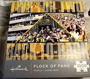 Hallmark Flock of Fans Pgh Penguins Hockey 1000 pc Jigsaw Puzzle Family Fun NIB