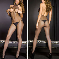 Sheer Seamless Fishnet Turtleneck Crotchless Open Bust Boobless Bodystocking OS