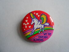 Vintage 1989 We're Dream Lovers Unicorn Valentines Day Pinback Button