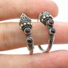 Vtg 925 Sterling Silver Real Amethyst Gemstone Modernist Hoop Earrings