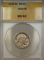 1918 Buffalo Nickel 5c ANACS MS-63 (Better Coin) DJ