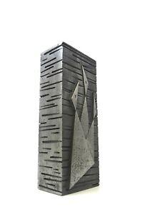 LARGE BRUTALIST MID CENTURY MODERN STAINLESS STELL VASE BY CASPER ART CAST 1960