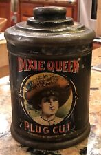 "1910 Dixie Queen Plug Cut Canister Tobacco Tin w/ portrait Medallion 4.5"" X 6"""