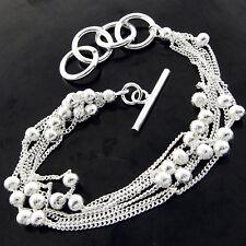 Silver S/F T'Bar Bead Strand Design Bracelet Bangle Genuine Real 925 Sterling