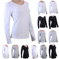 100% Cotton Womens V Neck Crew Neck Long Sleeve T-Shirt Plain Shirt Basic Tee
