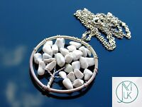 Handmade White Howlite Tree of Life Natural Gemstone Pendant Necklace 50cm