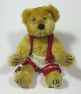 Vintage Mary Meyer Fully Jointed Golden Mohair Teddy Bear & Overalls