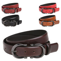 Ladies Premium Leather High Quality Belt Belts Feature Buckle Red Black Tan