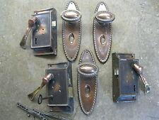 3 PR Originali Rigenerati OTTONE RAME / PIASTRA Manopole Per Porta / LEVA CON backplates 0141