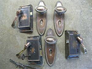 3 Pr Original Reclaimed Brass Copper/Plate Door Knobs/Lever with backplates 0141
