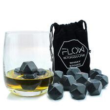 9 x Polished Diamond Shaped Whiskey Stones Chilling Rocks Drinks Cubes Gift