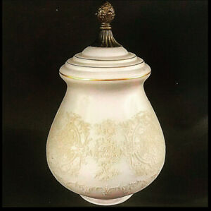 ANTIQUE LIGHT GLOBE FROSTED ETCHED FLORAL PATTERN GLASS BRASS FINIAL 11 1/2""