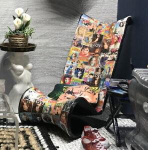 1:12 Dollhouse miniature decoupaged modern chaise lounge - Black