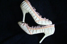 "SEXY WILD DIVA  WHITE & PINK LACE BABY DOLL 3.5""  STILETTO HEEL SHOES 7  NIB"