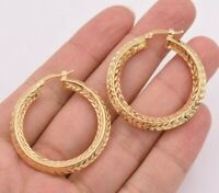 "1.5"" 40mm Diamond Cut Edgy Round Hoop Earrings 14K Yellow Gold Clad Silver 925"