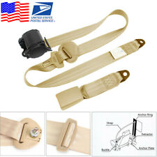 Beige 3 Point Car Seat Belt Auto Retractable Safety Strap Buckle Clip Universal Fits More Than One Vehicle