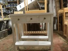 H80 W80 D22cm BESPOKE CONSOLE HALL KITCHEN TABLE 3 DRAWER CHUNKY WHITE SATIN