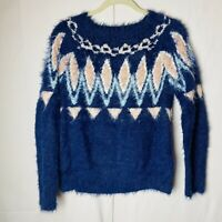 LC Lauren Conrad Fair Isle Blue Pattern Thick Knit Fuzzy Eyelash Sweater Sz S