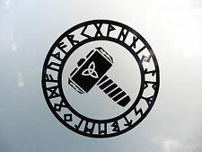 Thor S Hammer Rune Circle gods myths stickers/car/van/bumper/window/decal 5201bk
