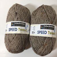 2 Skeins Speed Tweed Yarn Schachenmayr 3.5 oz Chunky Weight Brown Wool Blend