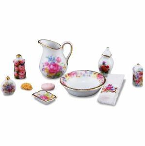 Dollhouse Bath Accessories Reutter 1.618/6 Dresden Rose pitcher 10 piece