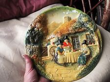 "VINTAGE 10"" 3D GLAZED BOSSONS WALL PLAQUE 3 WELSH LADIES TEA AT COTTAGE 10"" BOLD"