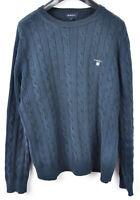 GANT Men's Medium Cotton Blue Cable Knit Crew Neck Sweater Jumper Pullover Top M