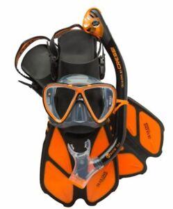 Cressi Bonete Pro Dry Mask Snorkel Fin Combo S/M Black / Orange