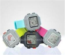 Silicone/Rubber Band Unisex Square Watches with 24-Hour Dial