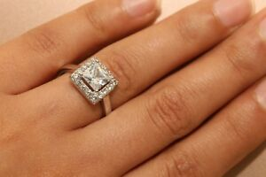 1.25ct Princess Cut DIAMOND SIMULATED Solitaire Ring 14kt White Gold Finish