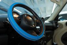 Italiano Hecho A Mano Artesanal De Cuero cubierta del volante-Azul Con Punto Blanco