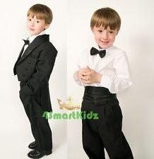5 Pcs Set Boy Formal Wedding Suit Tuxedo Tail Page Boy Black Kid Child Sz 5 #001