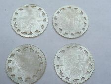 SUPER ANTIQUE 4 ROUND CHINESE CARVED MOTHER OF PEARL GAMING COUNTERS CHIPS TOKEN